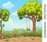 swing on tree in park. | Shutterstock . vector #493715143