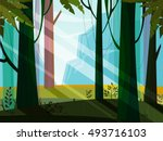 Landscape with jungle,mountain,forest,trees,wood,plant. Green,blue,violet colors. Minimalistic landscape nature. Jungle nature landscape. Magic. Nature vector. Nature flora. Vector, EPS 10. | Shutterstock vector #493716103