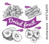 dried fruit illustration.... | Shutterstock .eps vector #493718293