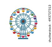 ferris wheel icon in cartoon... | Shutterstock . vector #493737313