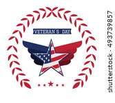 isolated american badge on a... | Shutterstock .eps vector #493739857
