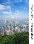 skyline of hong kong city  view ... | Shutterstock . vector #493740913