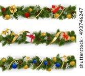 vector christmas border set 5 | Shutterstock .eps vector #493746247