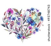 watercolor heart of summer... | Shutterstock . vector #493748743