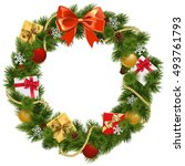 vector christmas wreath with... | Shutterstock .eps vector #493761793