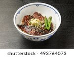 bowl of rice with boiled saury... | Shutterstock . vector #493764073