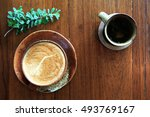 cake   coffee on wood table ... | Shutterstock . vector #493769167