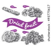 dried fruit illustration.... | Shutterstock .eps vector #493775617