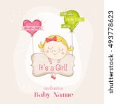 cute girl with balloons. baby... | Shutterstock .eps vector #493778623
