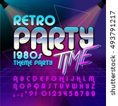80's retro alphabet font. retro ...   Shutterstock .eps vector #493791217