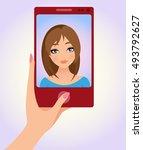 selfie concept vector. cartoon...   Shutterstock .eps vector #493792627