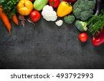 food background. fresh farmer... | Shutterstock . vector #493792993