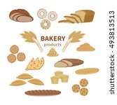 set of bakery fresh bread and... | Shutterstock .eps vector #493813513