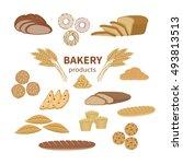 set of bakery fresh bread and... | Shutterstock .eps vector #493813513
