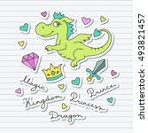 vector cute cartoon dragon ... | Shutterstock .eps vector #493821457