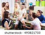 happy adult students during... | Shutterstock . vector #493821733