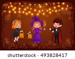 happy halloween. set of cute... | Shutterstock .eps vector #493828417