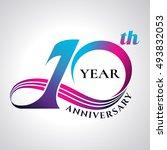 anniversary emblems 10 in... | Shutterstock .eps vector #493832053