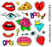 fashion patch badges with lips  ... | Shutterstock .eps vector #493840183