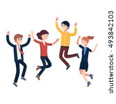 happy jumping up business... | Shutterstock .eps vector #493842103