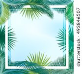 sukkot palm tree leaves frame.... | Shutterstock .eps vector #493846507