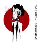 zodiac aries girl  | Shutterstock .eps vector #493856143
