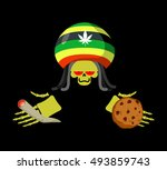 rasta death offers cookies and... | Shutterstock .eps vector #493859743