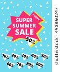super summer sale banner. hurry ... | Shutterstock .eps vector #493860247