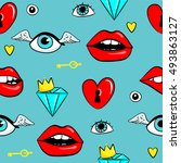 fashion patch badges with lips  ... | Shutterstock .eps vector #493863127