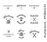 handmade workshop logo vintage...   Shutterstock .eps vector #493864153