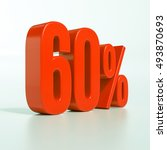 red 60  3d percentage sign on... | Shutterstock . vector #493870693