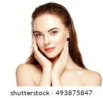 beautiful woman face portrait... | Shutterstock . vector #493875847