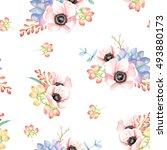 seamless pattern with flowers... | Shutterstock . vector #493880173