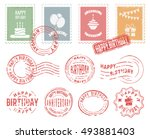 colorful decorative stamps and... | Shutterstock .eps vector #493881403