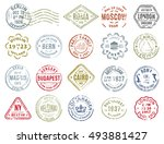 set of isolated postal stamps... | Shutterstock .eps vector #493881427