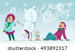 winter characters. girl and boy.... | Shutterstock .eps vector #493892317