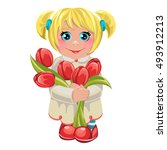 little girl with a bouquet of... | Shutterstock .eps vector #493912213