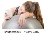 woman falling asleep in the gym ... | Shutterstock . vector #493912387