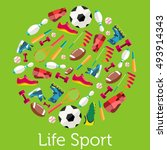 circular concept of sports... | Shutterstock .eps vector #493914343