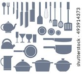 flat kitchen table for cooking... | Shutterstock .eps vector #493914373