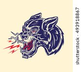 old school panther head tattoo... | Shutterstock .eps vector #493918867