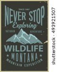 vintage vector of wilderness... | Shutterstock .eps vector #493921507