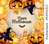 halloween background with... | Shutterstock . vector #493941517