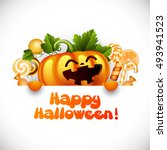 halloween pumpkin smiling and... | Shutterstock . vector #493941523