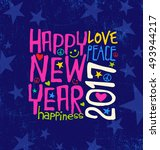 happy new year 2017 retro... | Shutterstock .eps vector #493944217