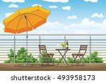 illustration of a balcony  a... | Shutterstock .eps vector #493958173