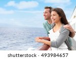 romantic happy couple on cruise ... | Shutterstock . vector #493984657