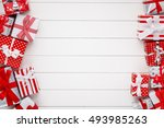 christmas gift boxes on white... | Shutterstock . vector #493985263