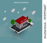 the concept of online shopping. ... | Shutterstock .eps vector #493993687