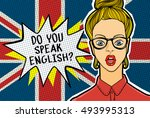 concept of studying english or... | Shutterstock .eps vector #493995313
